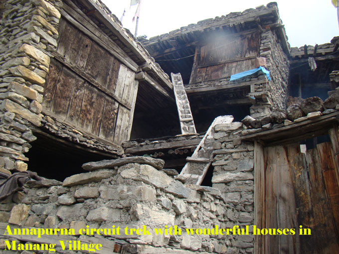 Traditional jointed houses in Manang village.People build these houses to protect from cold.