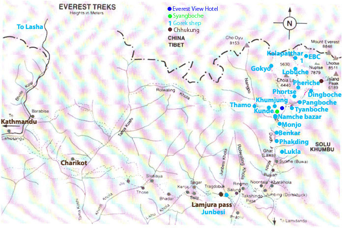 2 weeks Everest Base Camp trekkking Map