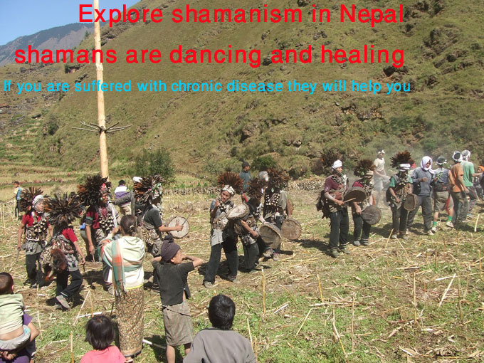 shamans are dancing and healing to drive away bad evils from village